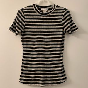 H&M Black & Cream Striped Woven Shortsleeved Top